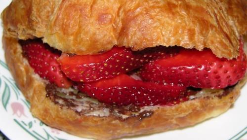 Chocolate Strawberry Croissant Sandwich