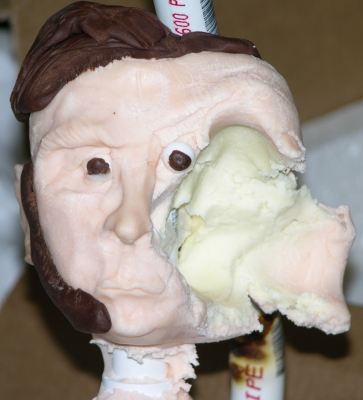 Half modelled head with destroyed other half