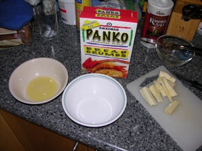 Ingredients assembled for breaded parsnips