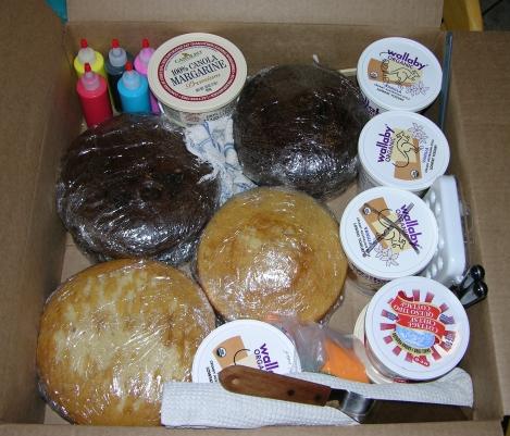 Box of cake supplies