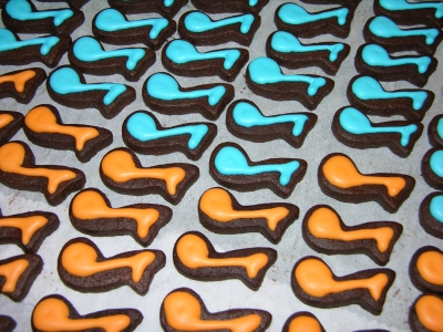 Blue and Orange Iced Cookies