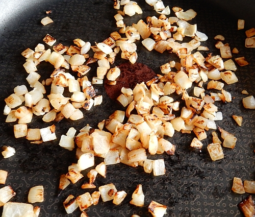 browned onions in pan