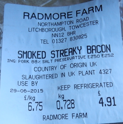 Smoked Streaky Bacon label