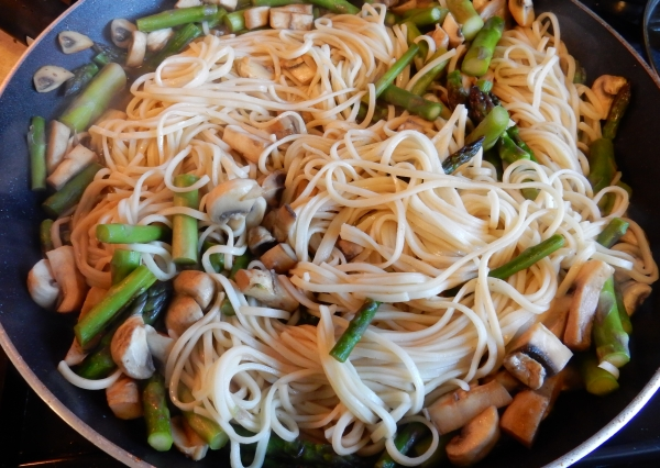 noodles in the pan