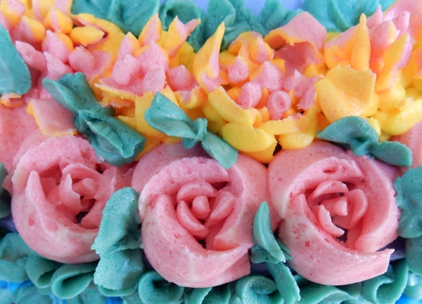 piped pink roses