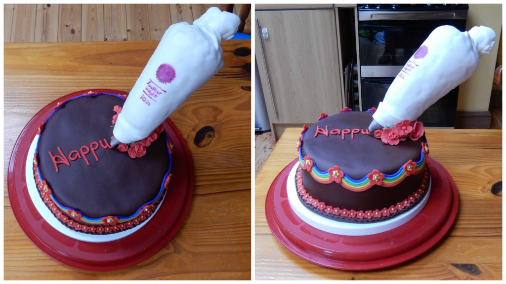 floating piping bag cake